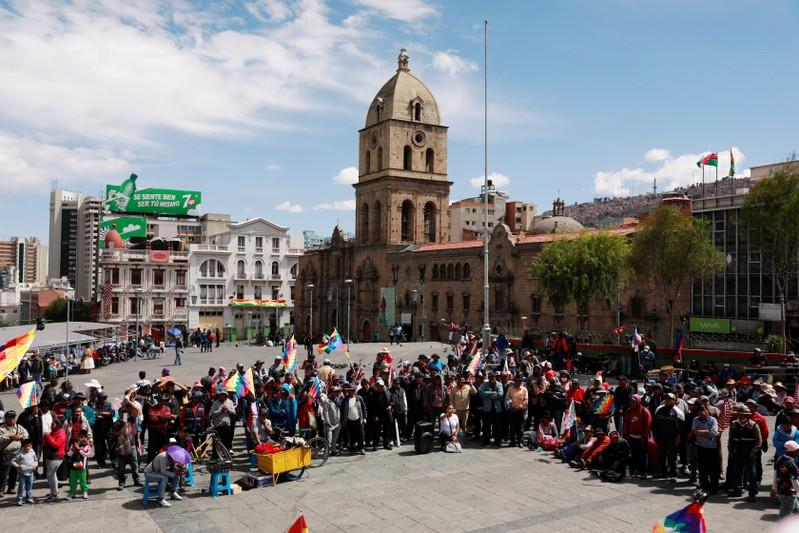 Supporters of former Bolivia's President Evo Morales meet in the Plaza Mayor, as part of the protests in La Paz
