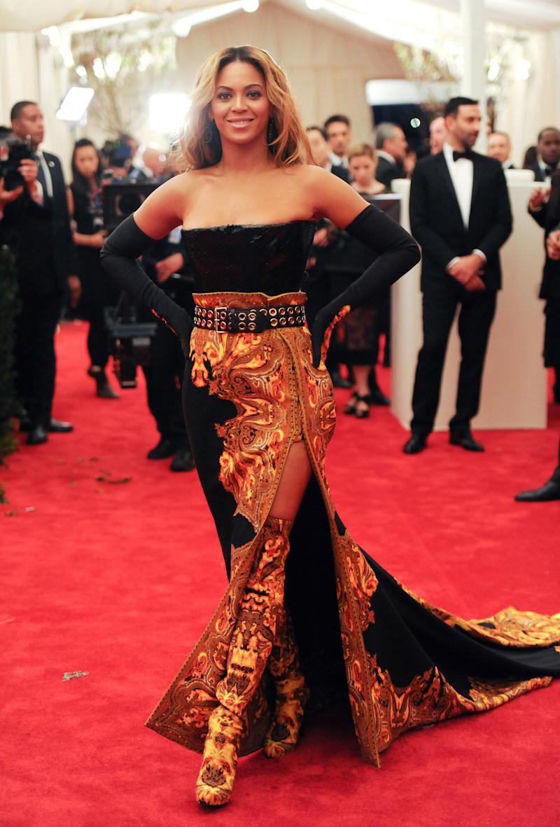 """Singer Beyonce Knowles attends The Metropolitan Museum of Art Costume Institute gala benefit, """"Punk: Chaos to Couture"""", on Monday, May 6, 2013 in New York. (Photo by Evan Agostini/Invision/AP)"""