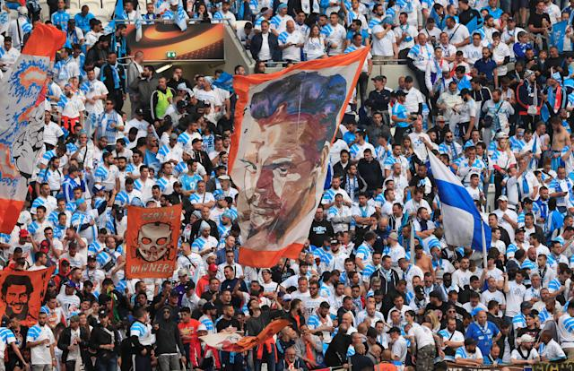 Soccer Football - Europa League Final - Olympique de Marseille vs Atletico Madrid - Groupama Stadium, Lyon, France - May 16, 2018 Marseille fans before the match REUTERS/Gonzalo Fuentes