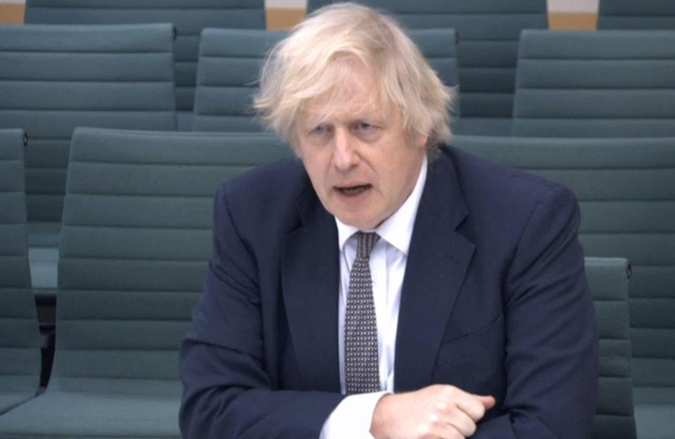<p>Johnson guides us round his self-built temple of unreality</p> (PRU/AFP via Getty Images)