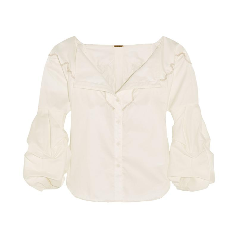 """<a rel=""""nofollow"""" href=""""http://rstyle.me/n/b3he9ajduw"""">Anna Beth Embroidered Cotton Twill Shirt, Johanna Ortiz, $695</a>"""