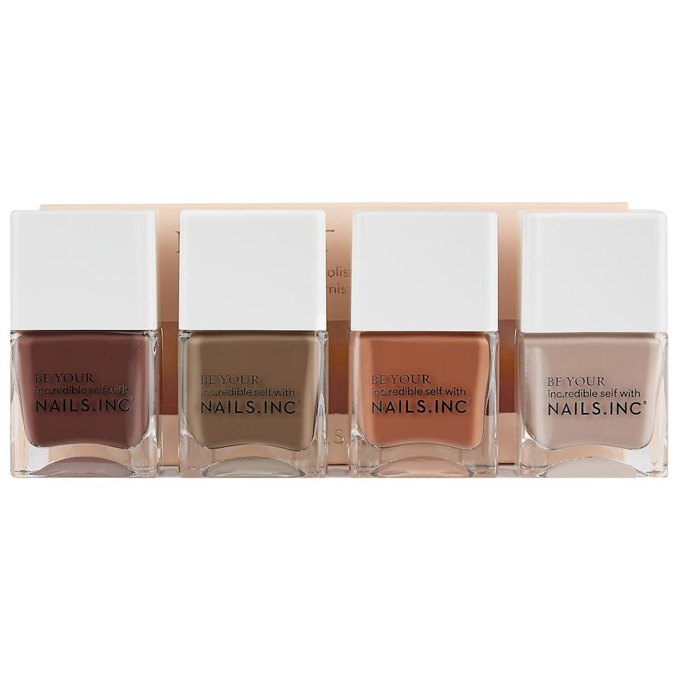 """<h3>Nails Inc. Keep It Tonal Nail Polish Set</h3><br>Over the course of quarantine, you've probably gotten pretty damn good at doing your nails — not to mention, all over trends like the whole color-on-each-nail thing. """"Virgos don't like over-the-top manicures,"""" Stardust says. """"This muted nail polish set is not only ideal for their color palette of choice but also perfect for the last days of summer."""" (P.S. I own this set, and can confirm it is everything.)<br><br><strong>Nails Inc.</strong> Keep It Tonal Nail Polish Set, $, available at <a href=""""https://go.skimresources.com/?id=30283X879131&url=https%3A%2F%2Fwww.sephora.com%2Fproduct%2Fnails-inc-keep-it-tonal-nail-polish-set-P455562"""" rel=""""nofollow noopener"""" target=""""_blank"""" data-ylk=""""slk:Sephora"""" class=""""link rapid-noclick-resp"""">Sephora</a>"""