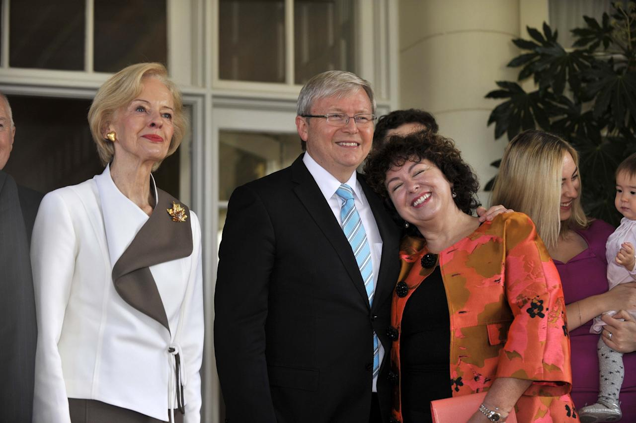 CANBERRA, AUSTRALIA - JUNE 27: In this handout photo provided by the AUSPIC, Governor-General Quentin Bryce, Prime Minister Kevin Rudd and Therese Rein pose at Government House, on June 27, 2013 in Canberra, Australia. Kevin Rudd won an Australian Labor Party leadership ballot 57-45 last night, and was sworn in this morning as Australian Prime Minister by Governor-General Quentin Bryce. Rudd was Prime Minister from 2007 to 2010 before he was dumped by his party for his deputy Julia Gillard. Gillard has announced that she will leave parliament and not contest her seat following her ballot loss. (Photo by David Foote/AUSPIC via Getty Images)