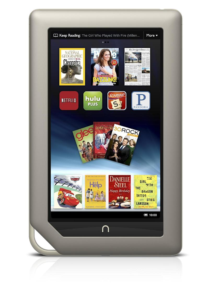 FILE - This file product image provided by Barnes & Noble Inc., shows the new $249 Nook Tablet, which was unveiled Monday, Nov. 7, 2011, in New York. Barnes & Noble Inc. and Microsoft Corp. are teaming up to create a new Barnes & Noble subsidiary that will house the digital and college businesses of the bookseller and include a Nook application for Windows 8. The companies said Monday, April 30, 2012 that they are exploring separating those businesses entirely. That could mean a stock offering, sale, or other deal could happen.   (AP Photo/Barnes & Noble Inc., File)