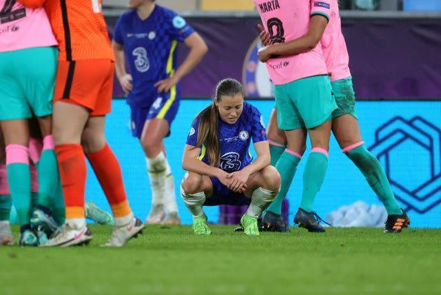 Chelsea's Fran Kirby appears dejected after defeat in Gothenburg