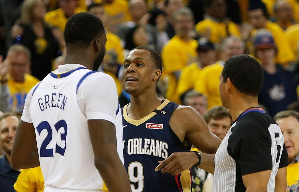 Draymond Green and Rajon Rondo have been getting at it during the Conference Semifinals. (AP Photo)