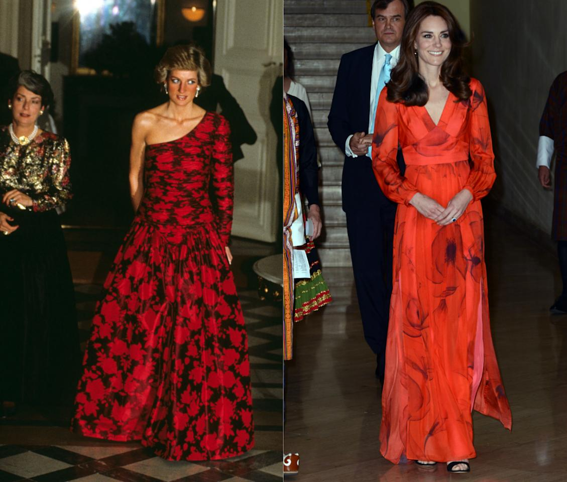 <p>Both ladies have also donned bright red ball gowns, with Diana doing so in 1988 and Kate wearing a similar ball gown whilst on tour in Bhutan. [Photo: PA/ Getty] </p>
