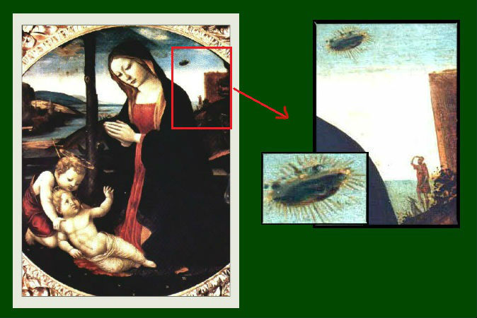 The Madonna with Saint Giovannino is a fascinating painting as it shows an airborne craft on its top right corner behind Madonna's shoulder. Some have speculated that her position is such that it seems like she's trying to protect her children from that alien object. Also, a man is seen looking at that UFO and his dog barking at it.