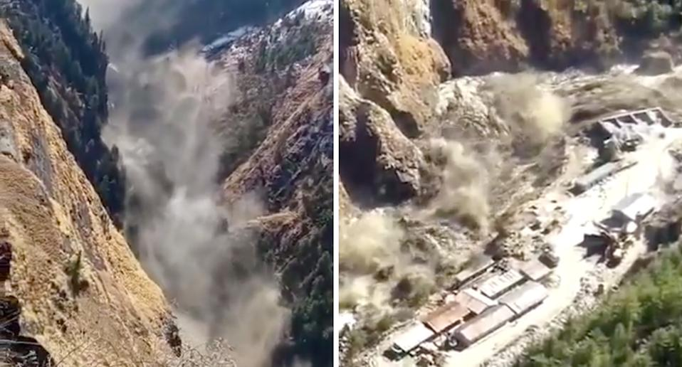 A landslide and glacier have unleashed carnage on workers and residents below. Source: Twitter/Utkarsh Singh