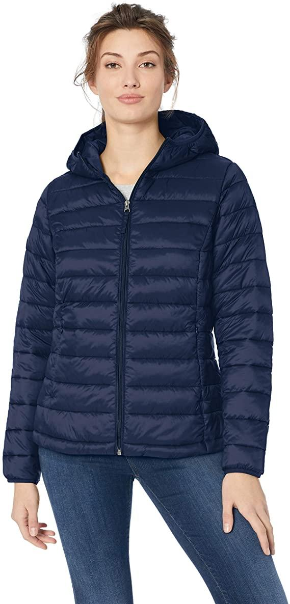 This Amazon Essentials lightweight hooded puffer jacket is water-resistant. (Image via Amazon)