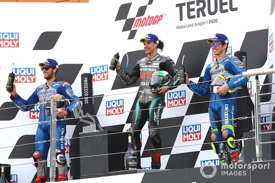 "Podio: Alex Rins, Team Suzuki MotoGP Franco Morbideli Joan Mir, Team Suzuki MotoGP<span class=""copyright"">Gold and Goose / Motorsport Images</span>"