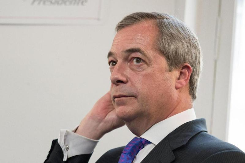 LBC presenter Nigel Farage interviewed Marine Le Pen in Paris. (PA)