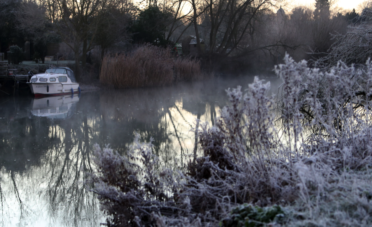 <p>A frosted river bank near Benson, Oxfordshire (Picture: PA) </p>