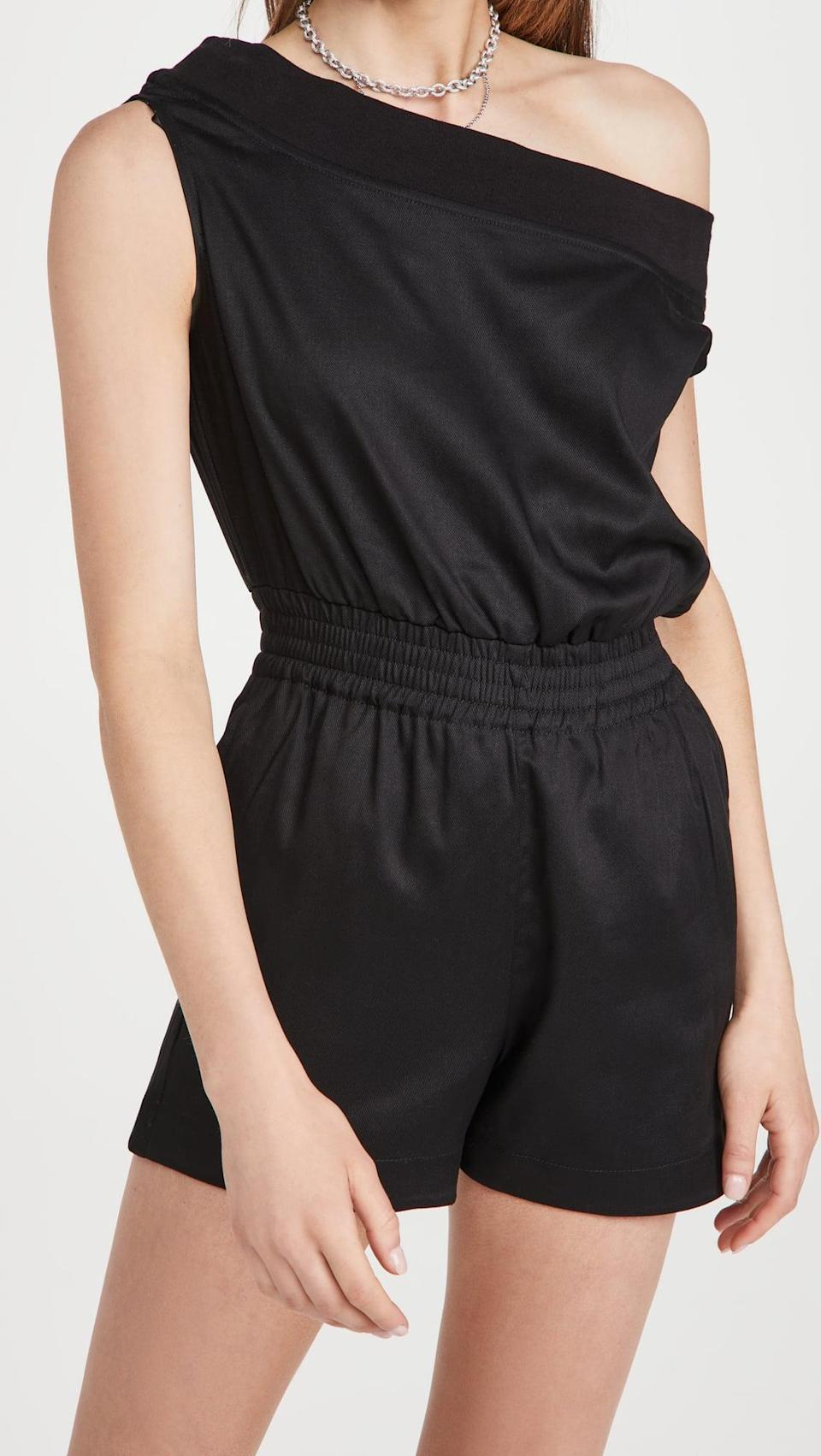 <p>This <span>RtA Ginnie Romper</span> ($375) can be worn off the shoulder completely or just on one shoulder, like this picture.</p>