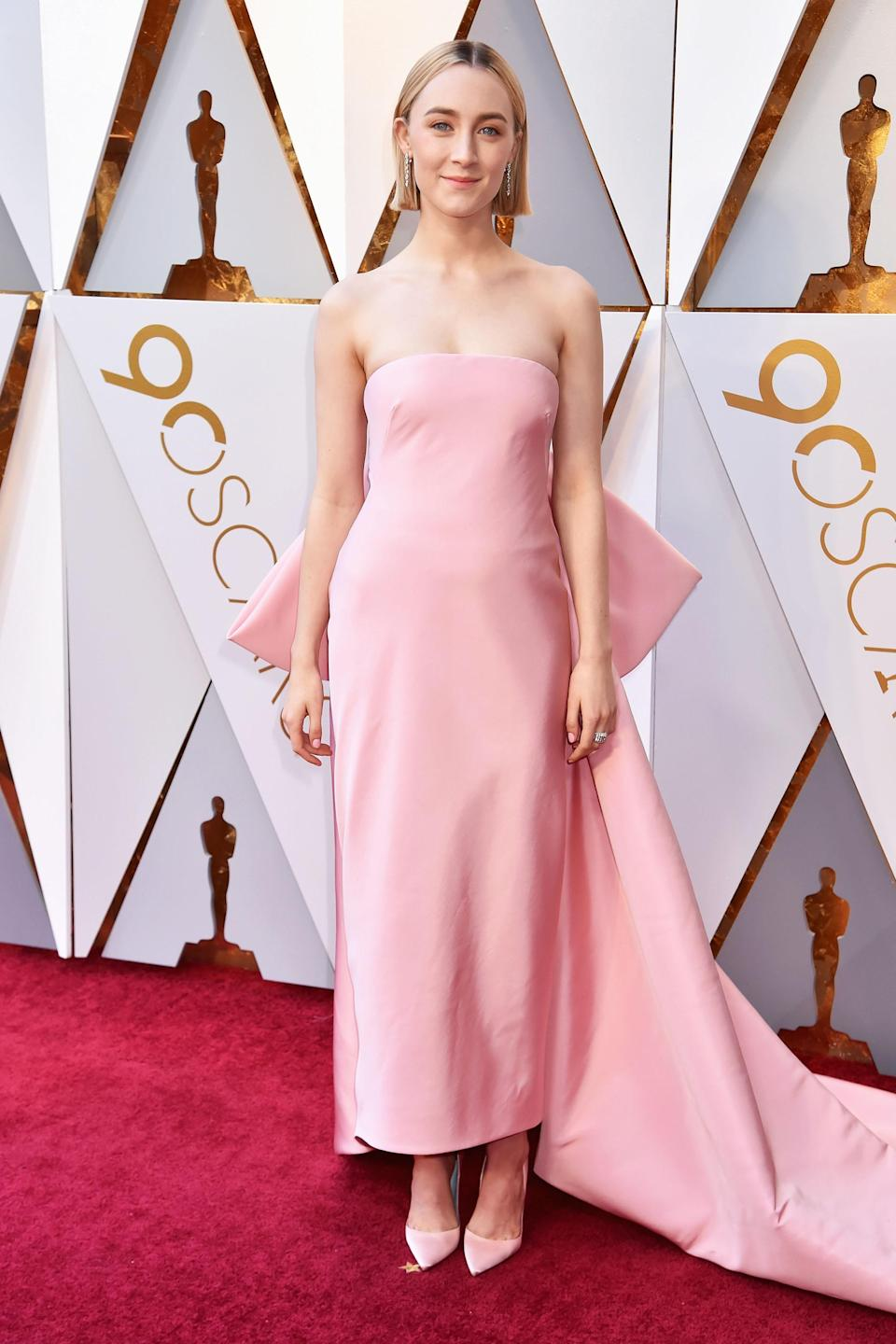"""<h2>Saoirse Ronan, 2018</h2><br>A long way from dress shopping at a Sacramento thrift shop! This bubblegum pink frock on <em>Lady Bird</em> lead actress Saoirse Ronan is one for the record books.<br><br><em>Saoirse Ronan in Calvin Klein By Appointment.</em><span class=""""copyright"""">Photo: Jeff Kravitz/FilmMagic/Getty Images. </span>"""