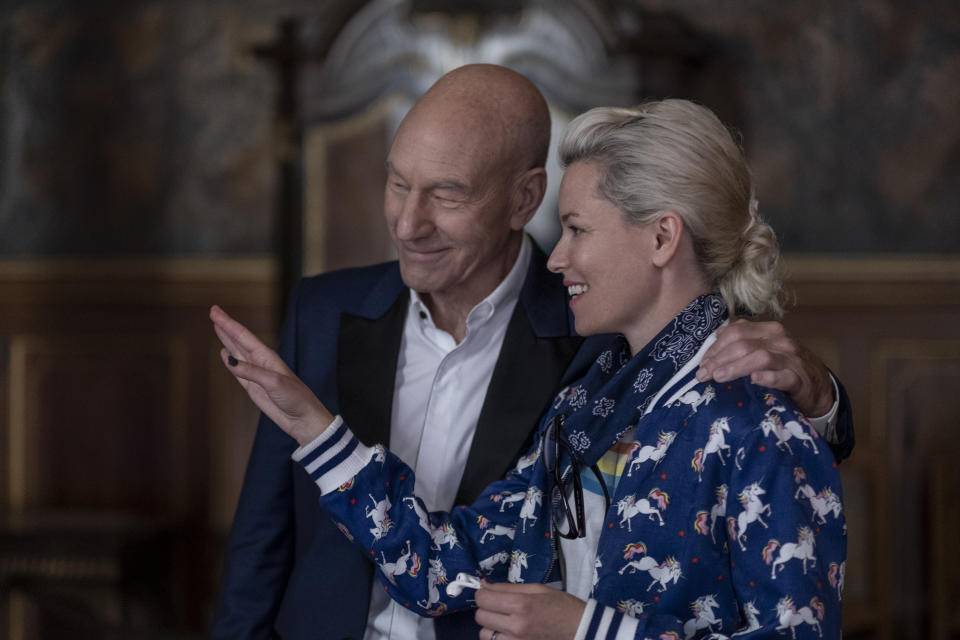 Patrick Stewart and Elizabeth Banks on the set of CHARLIE'S ANGELS. (Sony Pictures)