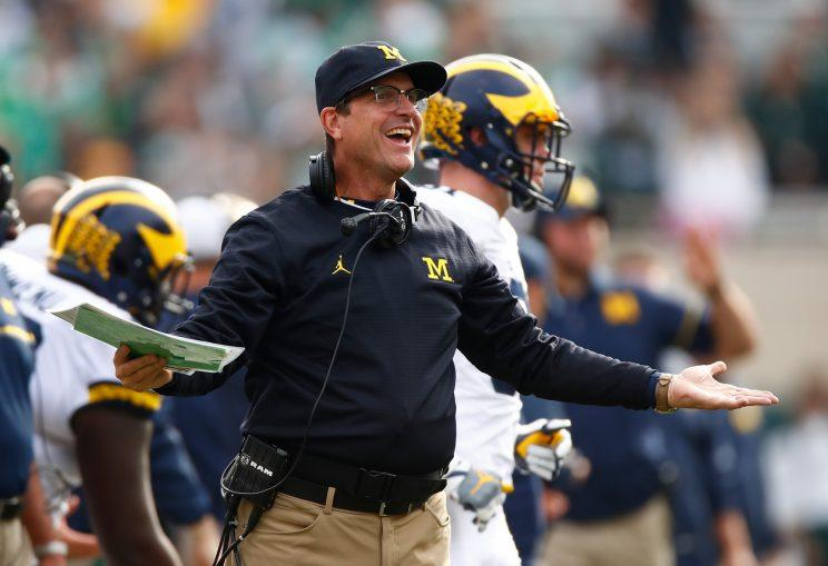 Jim Harbaugh has had his fun off the field. Will he win Big Ten titles on it at some point? (Getty)