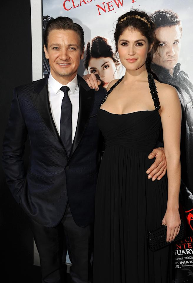 "HOLLYWOOD, CA - JANUARY 24:  Actors Jeremy Renner and Gemma Arterton arrive for the Los Angeles premiere of Paramount  Pictures' ""Hansel And Gretel Witch Hunters"" at TCL Chinese Theatre on January 24, 2013 in Hollywood, California.  (Photo by Kevin Winter/Getty Images)"