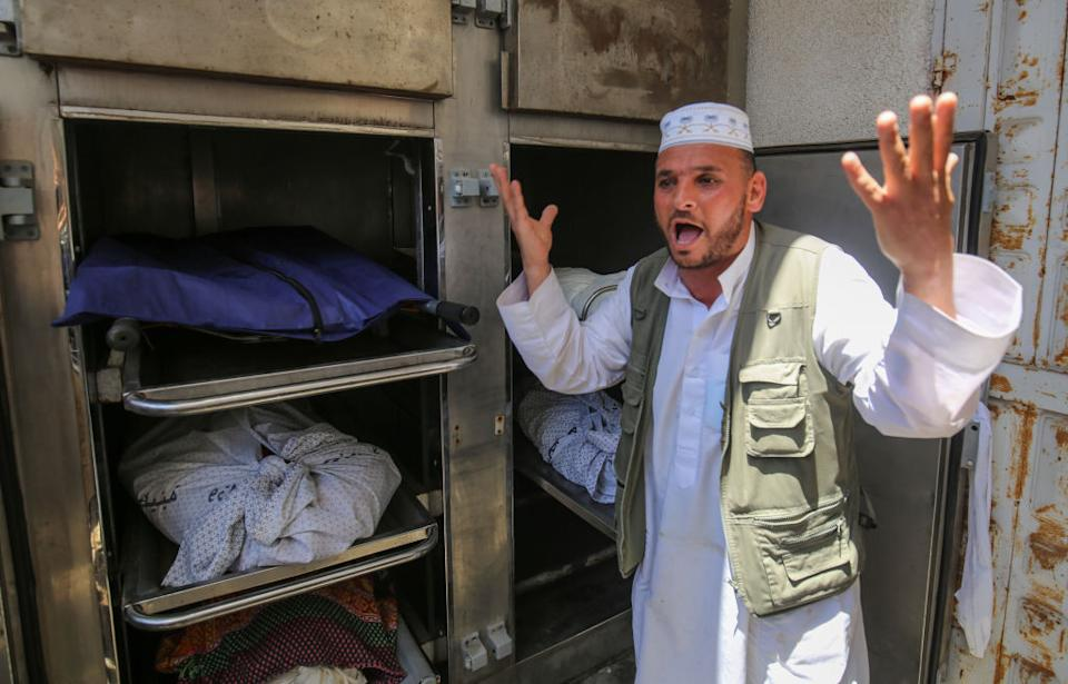 Relatives mourn after three people from the Al-Rentisi family, including two-year-old Ibrahim Al-Rentisi were killed following Israel's attack on Rafah city in the southern part of the Gaza Strip in Gaza City, Gaza.