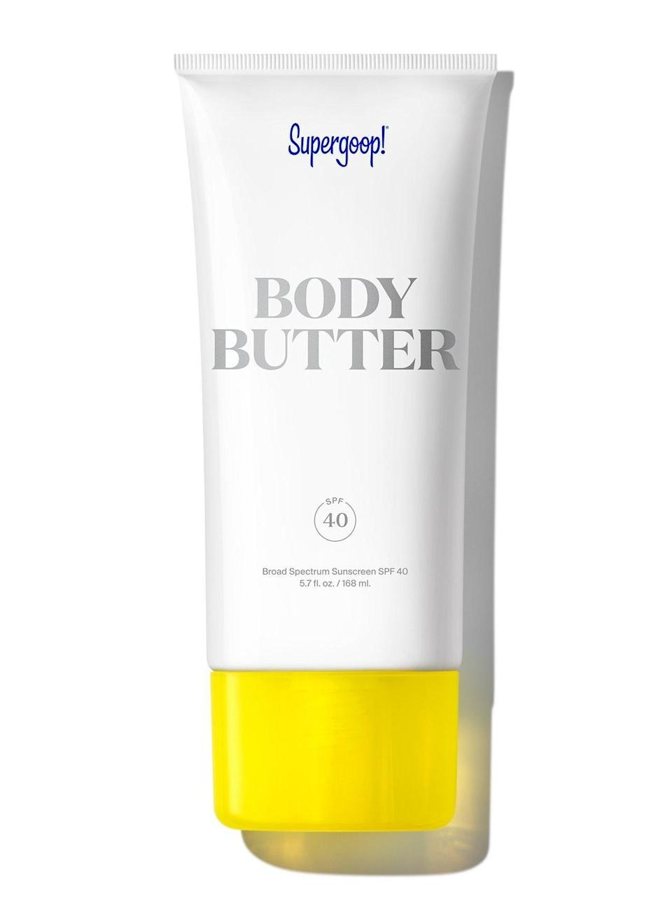 """<p><strong>Supergoop</strong></p><p>dermstore.com</p><p><strong>$38.00</strong></p><p><a href=""""https://go.redirectingat.com?id=74968X1596630&url=https%3A%2F%2Fwww.dermstore.com%2Fproduct_Body%2BButter%2BSPF%2B40_70494.htm&sref=https%3A%2F%2Fwww.oprahdaily.com%2Fbeauty%2Fskin-makeup%2Fg36545377%2Fbest-body-lotion-with-spf%2F"""" rel=""""nofollow noopener"""" target=""""_blank"""" data-ylk=""""slk:Shop Now"""" class=""""link rapid-noclick-resp"""">Shop Now</a></p><p>""""Some sunscreens have that tell-tale chemical smell, but this one has a very pleasant fragrance as a little extra bonus,"""" says Zalka. You can thank the eucalyptus, clove, and vanilla extracts for that. But what makes this formula extra nourishing is the addition of argan and meadowfoam seed oils, which lock in moisture. </p>"""