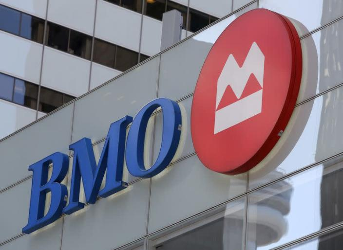 FILE PHOTO: The logo of the Bank of Montreal (BMO) is seen on their flagship location on Bay Street in Toronto