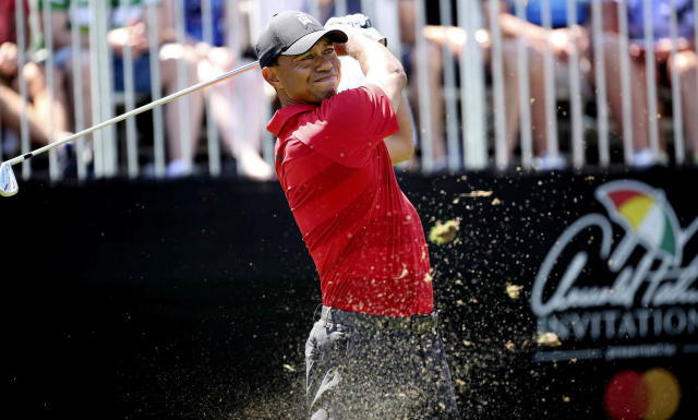 Tiger Woods tees off during the Arnold Palmer Invitational at Bay Hill Club & Lodge in Orlando on Sunday, March 18, 2018. (Stephen M. Dowell /Orlando Sentinel via AP)