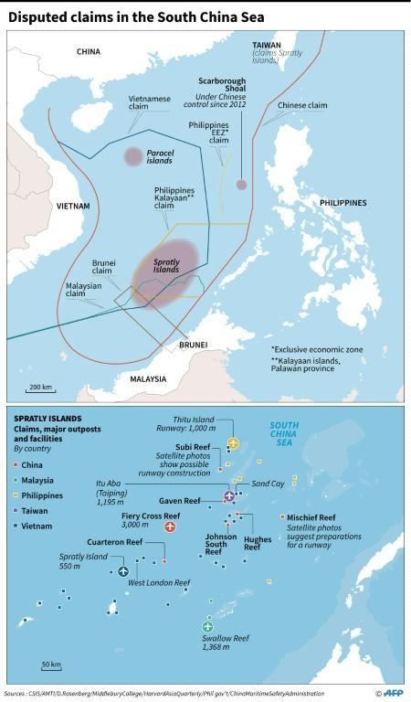 Map showing disputed claims in the South China Sea, including major outposts and facilities in the Spratly Islands