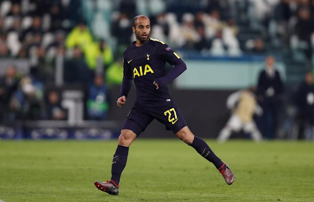 Soccer Football - Champions League - Juventus vs Tottenham Hotspur - Allianz Stadium, Turin, Italy - February 13, 2018 Tottenham's Lucas Moura Action Images via Reuters/Paul Childs