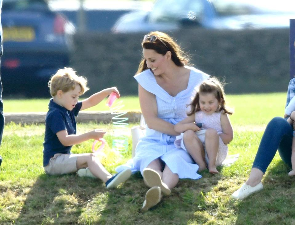The Duchess of Cambridge attended a charity polo match in Tetbury with her two oldest children on Sunday [Photo: Getty]