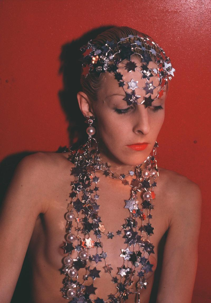 Greer modeling jewelry, NYC, 1985. Courtesy the Nan Goldin and Marian Goodman Gallery New York, Paris and London.