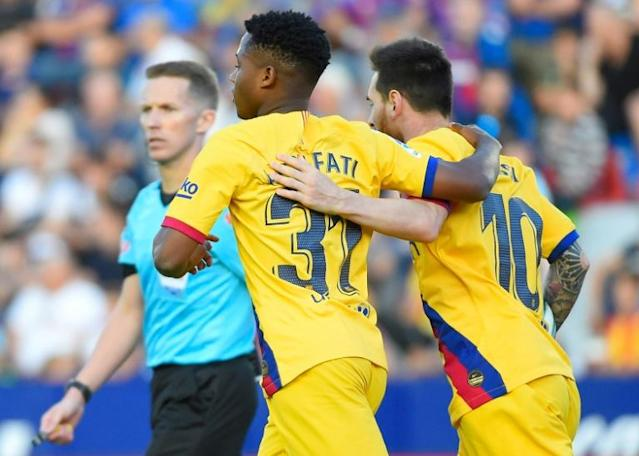 Fati has scored two goals for Barcelona's senior team (AFP Photo/JOSE JORDAN)