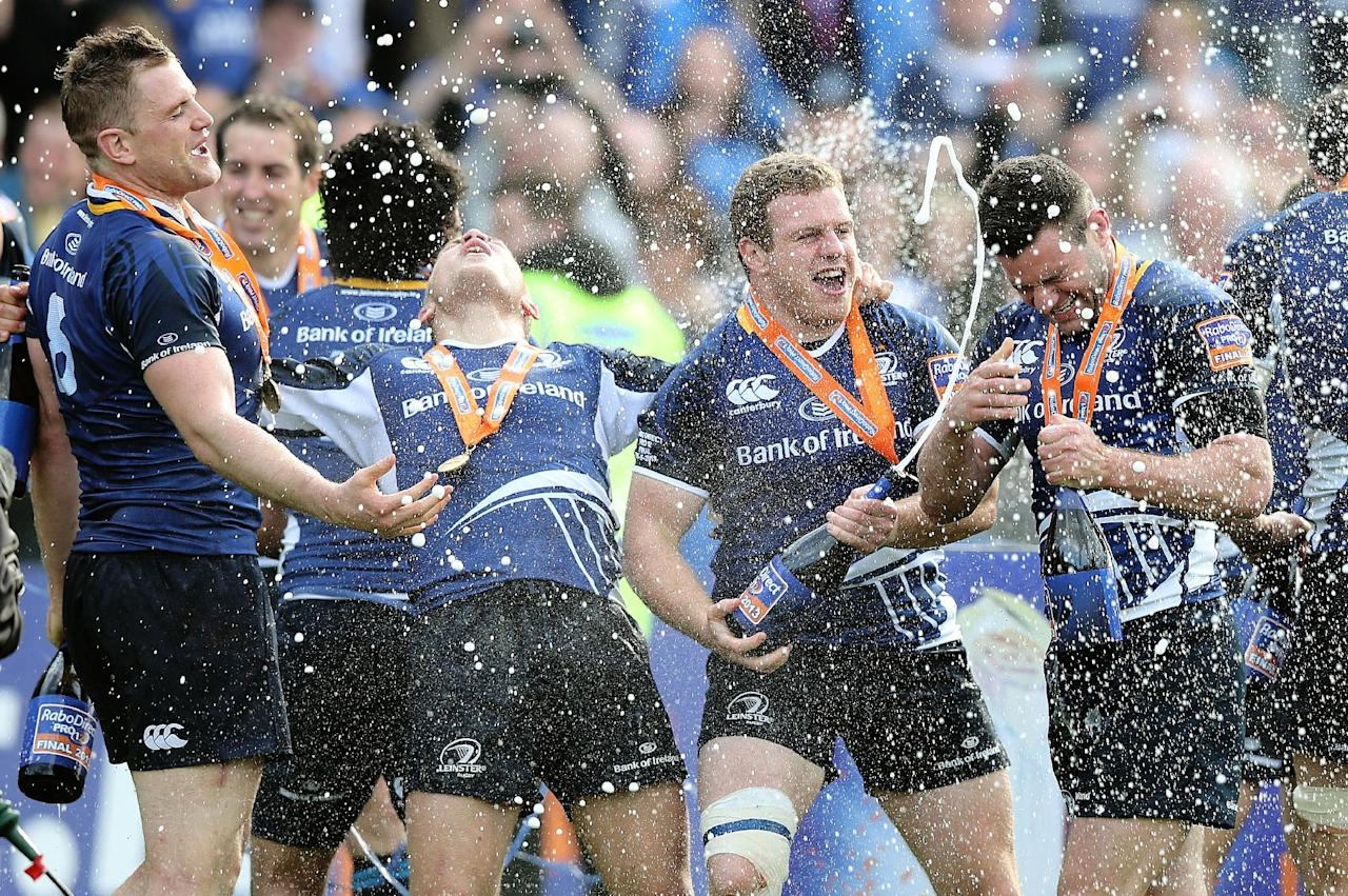 Leinster players celebrate their victory following the RaboDirect PRO12 Final at the RDS, Dublin, Ireland.