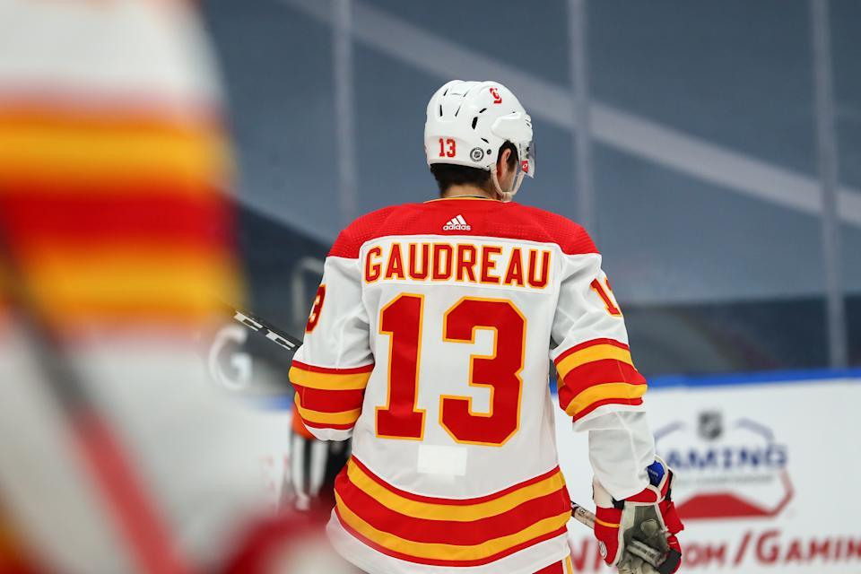 EDMONTON, AB - APRIL 02: Calgary Flames Left Wing Johnny Gaudreau (13) in action in the first period during the Edmonton Oilers game versus the Calgary Flames on APRIL 02, 2021 at Rogers Place in Edmonton, AB. (Photo by Curtis Comeau/Icon Sportswire via Getty Images)