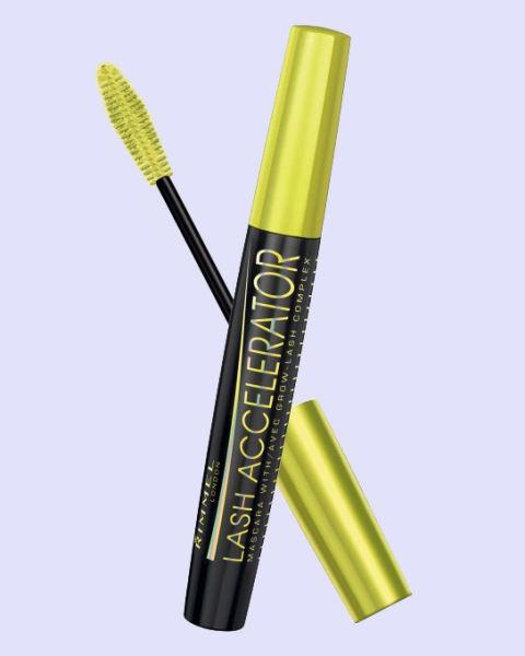 """<p><strong>Lash Accelerator Mascara by Rimmel London, $10, <a rel=""""nofollow"""" href=""""http://hewoodsandco.com""""><span>ulta.com</span></a></strong><strong>.</strong></p><p><strong>Key Ingredients: </strong>Castor seed oil, keratin, caffeine</p><p><strong>The Benefits: </strong>You can always rely on your mascara to make your eyelashes longer and fluffier for the day, but what if your mascara could make them fluttery and full even when you're not wearing it? This nutrient-rich mascara promises to promote eyelash growth the more you use it—no need to shell out the big bucks for lash extensions or a pricey growth serum.</p>"""