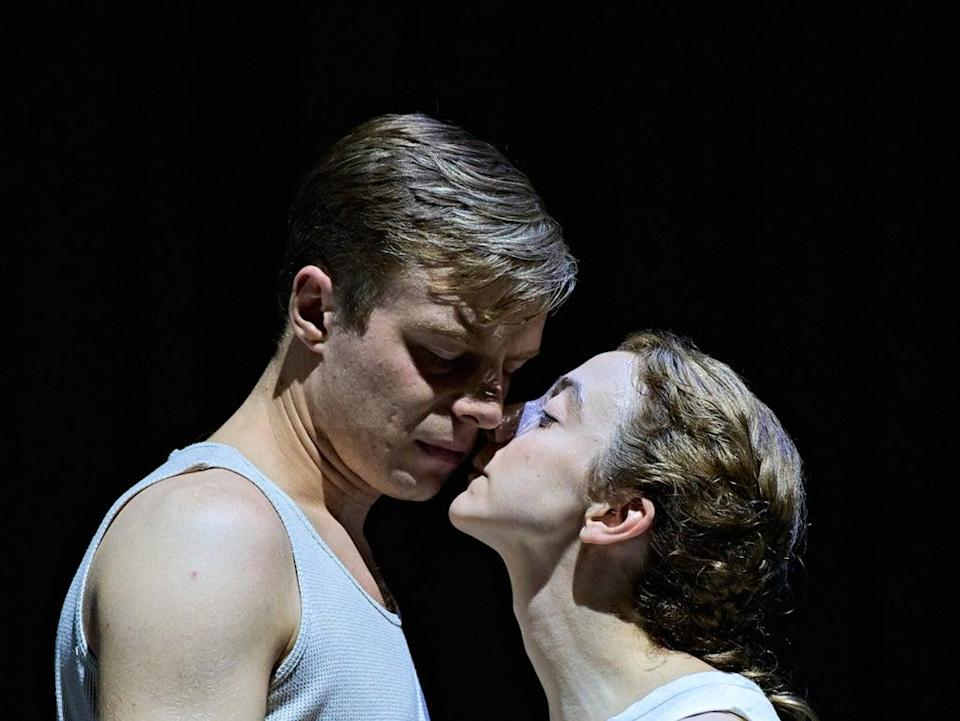 Luke Thallon (Him) and Patsy Ferran (Her) in Camp Siegfried at The Old Vic (Manuel Harlan)