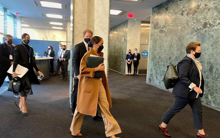 The Sussexes arriving at the UN headquarters on day three of their tour