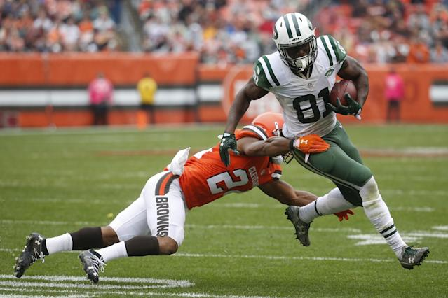 Jets receiver Quincy Enunwa is done for the season due to a neck injury. (AP)