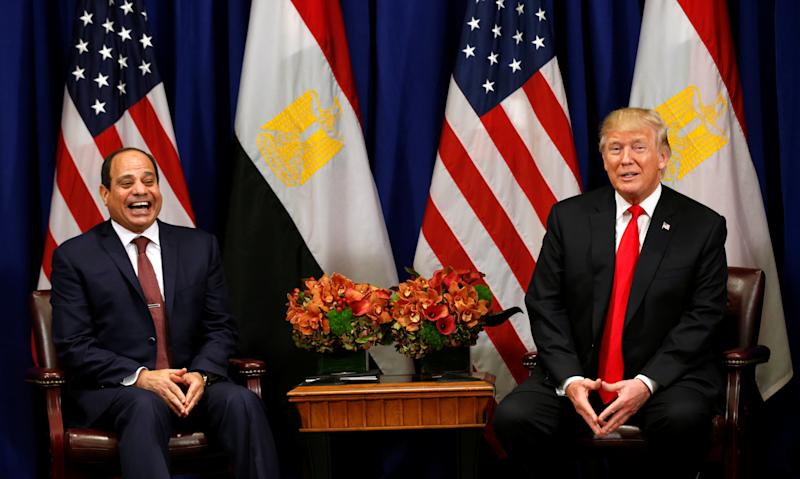 President Donald Trump meets with Egyptian President Abdel Fattah al-Sisi during the U.N. General Assembly in New York on Sept. 20, 2017. Earlier this year, Trump hosted the authoritarian leader at the White House, something President Obama had declined to do. (Kevin Lamarque / Reuters)
