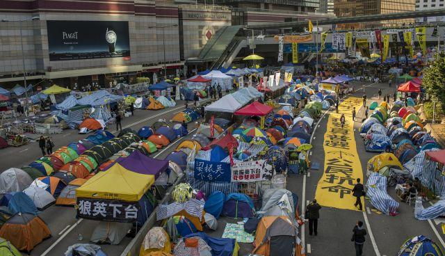 Streets of Hong Kong's central business district are still occupies by protesters in December 2014.