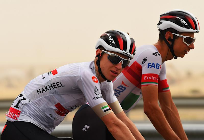 UAE Team Emirates' Tadej Pogacar in the white jersey as best young rider at the 2020 UAE Tour