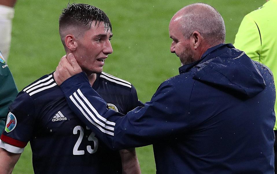 Gilmour with Steve Clarke after the game - Getty Images