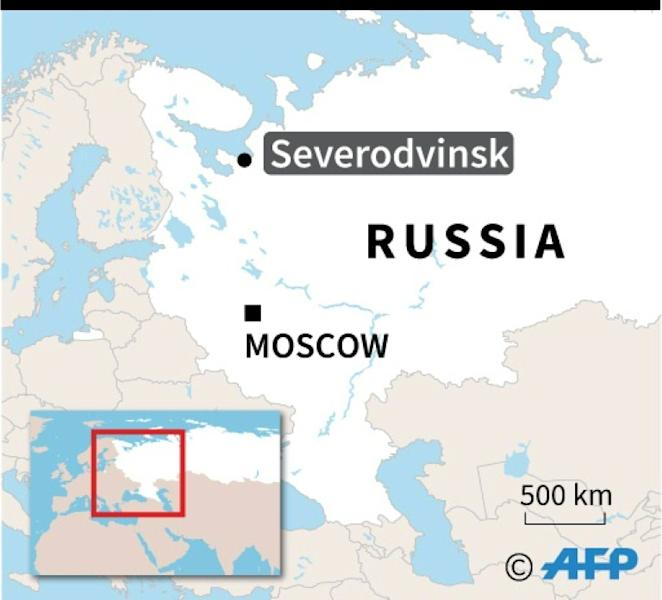 Map of Russia locating explosion in Severodvinsk