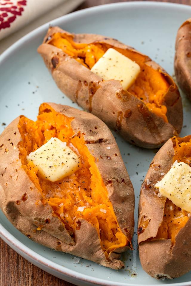 """<p>Sweet potatoes are packed full of beta-carotene, which your body can convert to vitamin A and use to protect against diseases like cancer and heart disease, as well as chronic conditions caused by inflammation in the body, like rheumatoid arthritis. The beta-carotene found in sweet potatoes can also help to manage and stabilize blood sugar levels.</p><p><strong>Recipe: <a href=""""https://www.delish.com/cooking/recipe-ideas/recipes/a55377/perfect-baked-sweet-potato-recipe/"""">Baked Sweet Potato</a></strong></p>"""