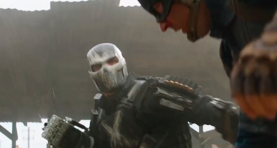 <p>Rumlow was a formidable HYDRA agent pretending to be a S.H.I.E.L.D. operative in <i>Winter Soldier</i> and survived the carnage at the end. Now hiding his scarred face inside a supersuit, Crossbones is ready to settle the score. <i>(Photo: Disney)</i></p>