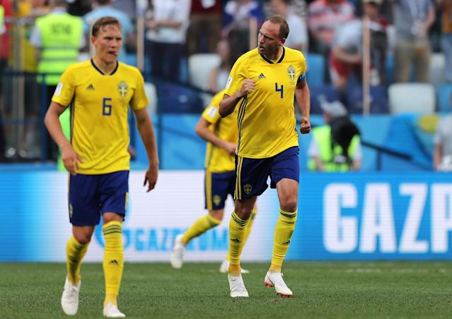 Soccer Football - World Cup - Group F - Sweden vs South Korea - Nizhny Novgorod Stadium, Nizhny Novgorod, Russia - June 18, 2018 Sweden's Andreas Granqvist celebrates scoring their first goal REUTERS/Ivan Alvarado