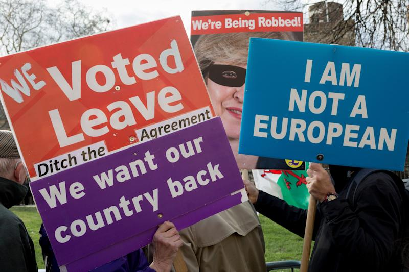 On the day that MPs in Parliament vote on a possible delay on Article 50 on EU Brexit negotiations by Prime Minister Theresa May, UKIP Leavers protest on College Green, on 14th March 2019, in Westminster, London, England. (Photo by Richard Baker / In Pictures via Getty Images)