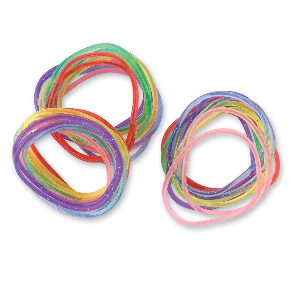<p>Give these <span>Scented Glitter Jelly Bracelets</span> ($25 for 144) to a stylin' friend. </p>