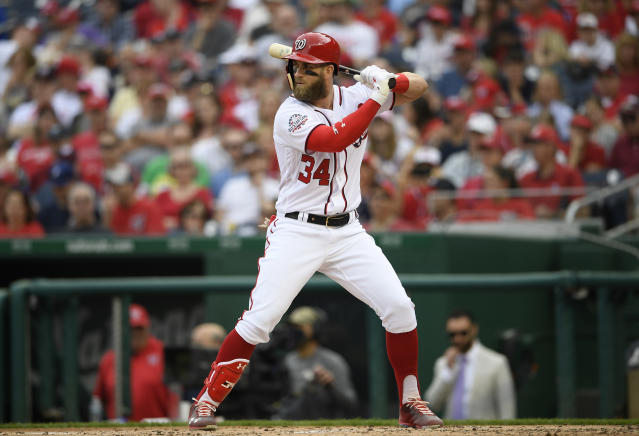 "<a class=""link rapid-noclick-resp"" href=""/mlb/teams/was"" data-ylk=""slk:Washington Nationals"">Washington Nationals</a> slugger <a class=""link rapid-noclick-resp"" href=""/mlb/players/8875/"" data-ylk=""slk:Bryce Harper"">Bryce Harper</a> is among baseball's unluckiest hitters when it comes to ground balls this season. (AP Photo/Nick Wass)"