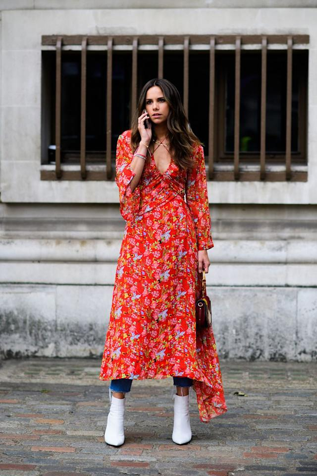 "<p>Contrast a colorful print dress with a pair of stark white booties. </p><p><strong>Shop the Look: Strategia</strong> ankle boots, $360, <a rel=""nofollow"" href=""https://www.farfetch.com/shopping/women/strategia-pointed-toe-boots-item-13080443.aspx"">farfetch.com</a>.</p><p><a rel=""nofollow"" href=""https://www.farfetch.com/shopping/women/strategia-pointed-toe-boots-item-13080443.aspx"">SHOP NOW</a><br></p>"