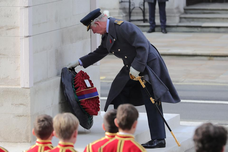 Britain's Prince Charles, Prince of Wales lays a wreath during the Remembrance Sunday ceremony at the Cenotaph on Whitehall in central London, on November 8, 2020. - Remembrance Sunday is an annual commemoration held on the closest Sunday to Armistice Day, November 11, the anniversary of the end of the First World War and services across Commonwealth countries remember servicemen and women who have fallen in the line of duty since WWI. This year, the service has been closed to members of the public due to the novel coronavirus COVID-19 pandemic. (Photo by Aaron Chown / POOL / AFP) (Photo by AARON CHOWN/POOL/AFP via Getty Images)